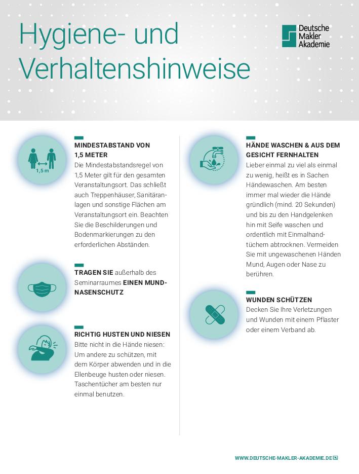 Hygiene und Verhaltenshinweise der Deutschen Makler Akademie